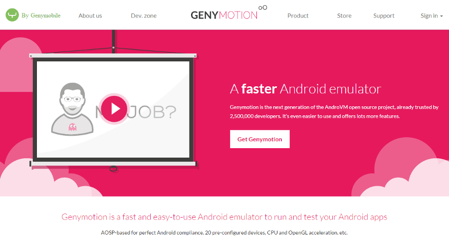 Genymotion Homepage