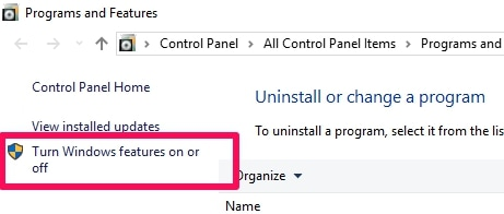 Turn Windows Feature On or Off